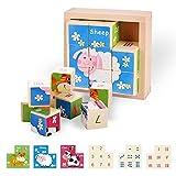 colmanda Bilderwürfel aus Holz, Würfelpuzzle 3D Holzpuzzle Lernspielzeug Puzzel mit 8 Würfel...
