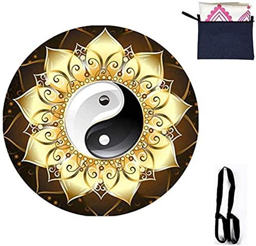 RRB Redondo de Yoga Alfombra Antideslizante Natural Rubber 1 5 mm Doble patrón Meditación Suecia Meditación Ampliación Moda-Seducir