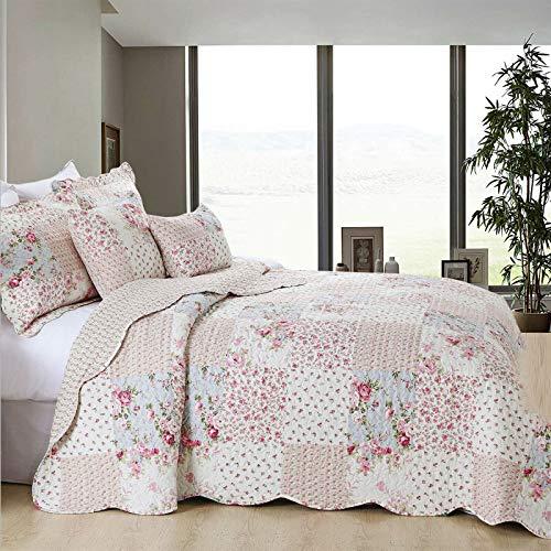 Imperial Rooms® Tagesdecken Bettüberwurf Gesteppt 100% Polyester Steppdecke Bettüberwurf 3 Stück Patchwork Bettdecken + 2 Kissenbezüge (Meadow, Doppelt (230x250 cm))
