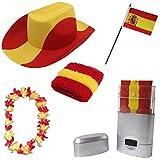 Sonia Originelli Fan-Paket-2 WM Länder Fußball Hut Kette Schminke Schweißband Flagge Farbe Spanien