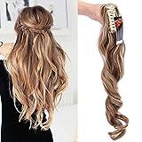 """24"""" Queue de Cheval Postiche Extension de Cheveux (Attachée par Pince/Griffe) Ondulé - Claw on Ponytail Clip in Hair Extensions - Marron clair/Blond cendré (60cm-155g)"""
