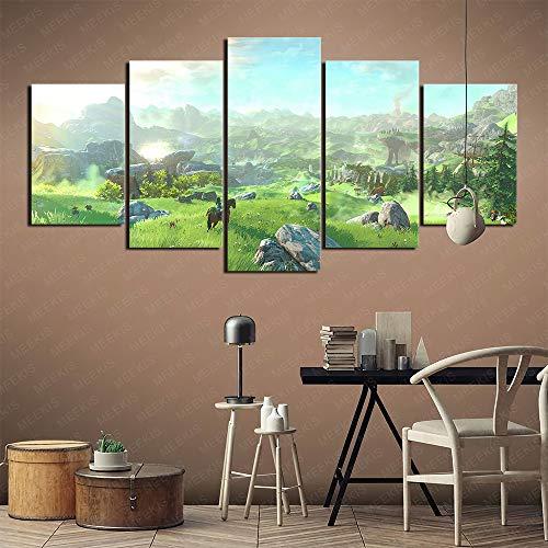 Atmósfera de la tienda The Legend of Zelda Breath of the Wild Póster impreso en lienzo 5 piezas 100x50cm sin marco