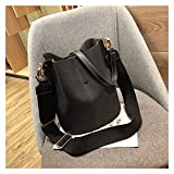 Bolsa de Hombro Bolsa de Mensajero Bolsa de Mujer Bolsa de Hombro Capacidad Grande Vintage Matte PU Leather Lady Bolso de Lujo Diseñador de Lujo (Color : Negro)