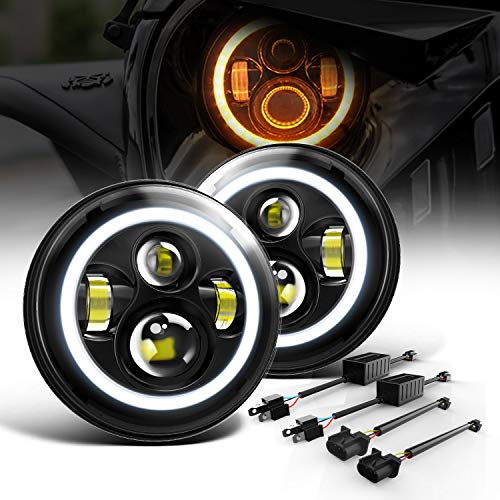 """DOT Approved Led Headlight for Wrangler 7"""" Round 60W LED Replacement Headlights with High Low Beam White DRL Amber Turn Signal for Wrangler JK TJ LJ CJ Hummer H1 H2 (Pair)"""