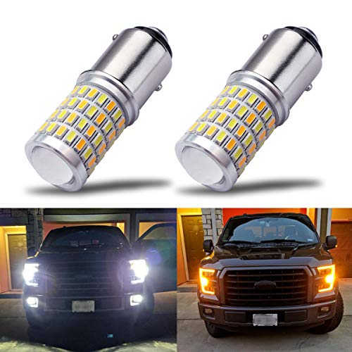 iBrightstar Newest Super Bright 1157 2057 2357 7528 BAY15D P21/5W Switchback LED Bulbs with Projector Replacement for Daytime Running Lights / DRL and Turn Signal Lights,White/Amber