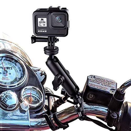 Soporte de barra de manillar de motor Rotación de 360 ° Aleación de aluminio Soporte de espejo retrovisor de motocicleta Soporte para GoPro Hero9 8 7 6 5 4, Xiaoyi, SJCAM,DJI Osmo Aciton Camera