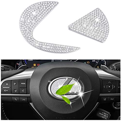 Bling Bling Car Steering Wheel Logo Caps Cover Replacement for Lexus Accessories DIY Diamond Crystal Emblem 3D Shiny Stickers Interior Decorations Logo Badge Decal