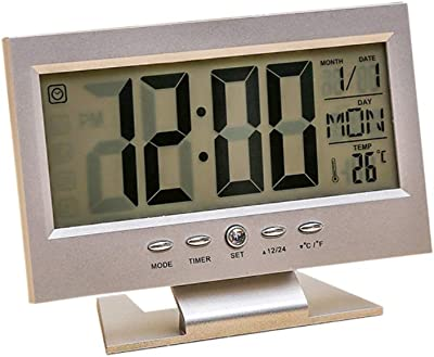 Lsgepavilion - Reloj Despertador con Sensor de Sonido multifunción, LCD, Digital, Calendario,