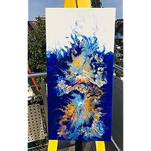 Acryl Pouring Bild I 40 x 80 x 3,5 cm I original handgemaltes Einzelstück I blau, weiß, gold, türkis, rot I Keilrahmen I…