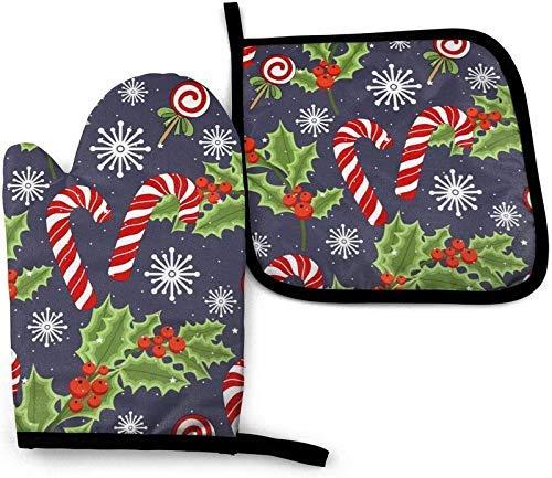 Jimbseo Christmas Candy Cane Hollyleaf Snowflake Christmas Candy Cane Hollyleaf Copo de Nieve Juego de Manoplas para Horno y Soporte para ollas