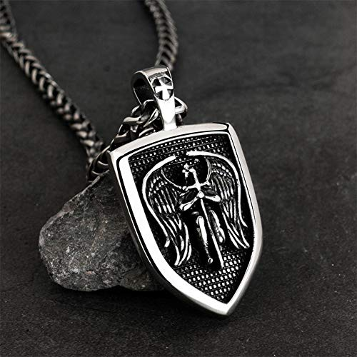 Nordic Viking Warrior Cross Shield Pendant Necklace for Men,Handmade Stainless Steel with 60Cm Chain Vintage Myth Amulet Jewelry-Silver,Keel Chain