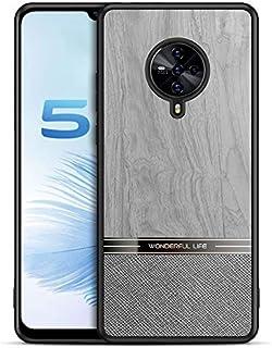 GUANHAO Vivo S6 5G ケース, ソフト TPU バンパー + 木目 ワッド 柄 テクスチャ PU レザー & ハード PC バック 指紋防止 衝撃吸収 保護ケース ために Vivo S6 5G (グレー)