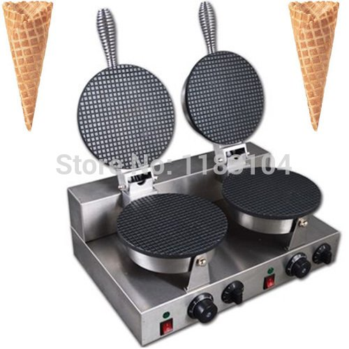 Double-head 220v Electric Icecream Cones Waffle Cone Maker Machine Baker Iron Mold Pan
