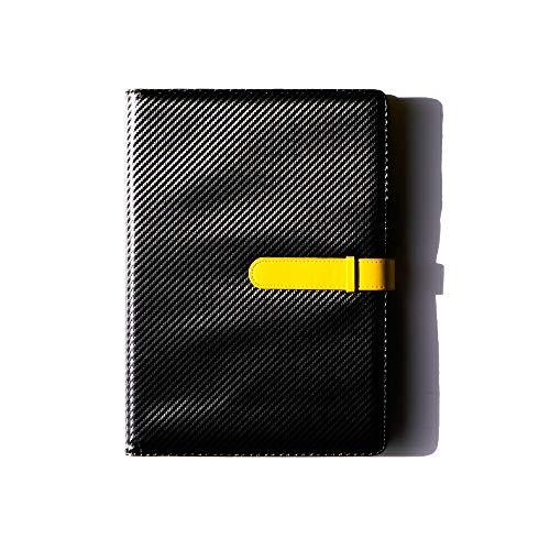 (JOIN・K) バインダー クリップボード a4 二つ折り カーボンレザー 書類ケース 持ち運び (ブラック×イエロー)