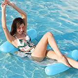 ZDYLM-Y Hamaca Flotante para Piscina 4 en 1, salón Inflable para Hamaca de Agua con Almohada para la Cabeza, Hamaca de Agua portátil para Adultos,Sky Blue