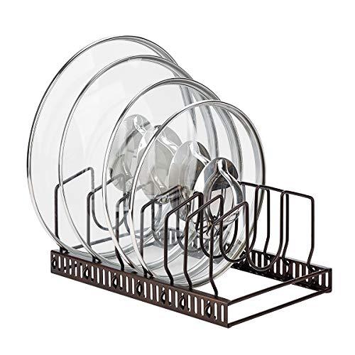 Toplife Estante de Almacenamiento de Tapas de Ollas Ajustable,Organizador de Sartenes y Tapaderas con 7 Compartimientos para Almacenar Tapas de Ollas,Platos