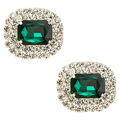 Ruihfas Casualfashion Shoes Dress Hat Accessories Fashion Rhinestones Crystal Shoe Clips 2 Pcs (Green)