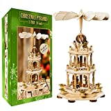 German Christmas Decoration Pyramid - 18 Inches - Wood Nativity Scene Set-Under The Christmas Tree - Table Top Holiday Decor - 3 Tiers Carousel- 6 Candle Holders - German Design.
