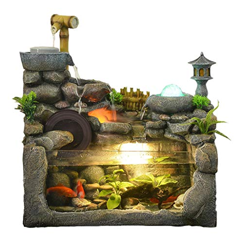 Zlw-shop Außen Springbrunnen/Indoor-Bonsai Desktop Brunnen und Aquarium Innendekoration Steingarten Fischteich Springbrunnen Zerstäubung Befeuchtung Naturlandschaft Kunst Dekoration Zimmerbrunnen