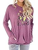 Dresswel Damen Bee Kind Sweatshirt Rundhals Langarmshirt Biene Pullover Pulli Tops Bluse mit Taschen