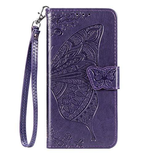JZ Capa de celular Butterfly & Flower para LG K40 / K12 Plus / X4 série em relevo capa carteira flip com [alça de pulso] - Roxo