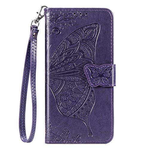 Blllue Funda tipo cartera compatible con Oppo A15, diseño de flores y mariposas, piel sintética, color morado