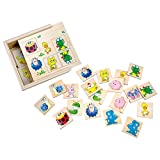 Bino Memory Tiere Kindermemory aus Holz Suchspiel für Kinder ab 8 Monate (24-Teilig, 12 verschiedene Tiermotive, besonder robust, Holzkasten mit Schiebedeckel, Maße: 12 x 4,5 x 12 cm), Bunt, 84167