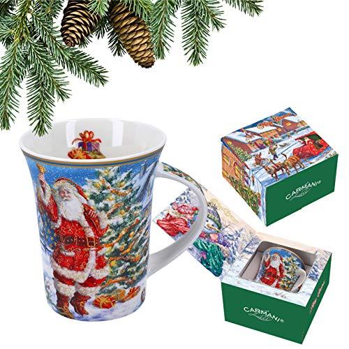 CARMANI - Taza de porcelana decorada con temática navideña de 350 ml.