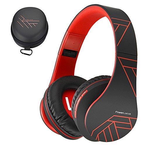 PowerLocus P2 – Auriculares Bluetooth inalambricos de Diadema Cascos Plegables, Casco Bluetooth con Sonido Estéreo Micro SD/TF, FM con micrófono y Audio Cable para Movil, PC, Tablet - Negro/Rojo