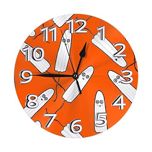 DZCP-y Reloj de Pared Naranja de tampones Kawaii para Mujeres y niñas, Reloj de Pared silencioso de Cuarzo de Calidad sin tictac