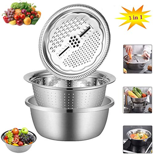 Graters for Kitchen Stainless Steel Multifunction Thicken Three-Piece Kitchen Dense Small Holes Hollow Drain,Silver