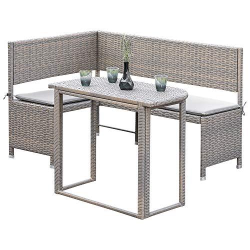 gartenmoebel-einkauf Eckbankset Bregenz 2-teilig, 1x Eckbank 148x100cm und 1x Tisch, Stahl + Polyrattan grau-beige, mit Auflage hell