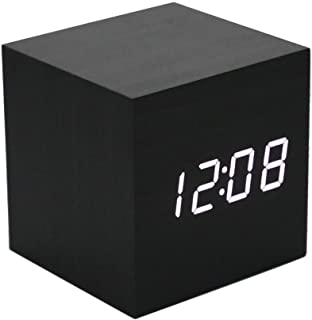 Mengshen Wooden Alarm Clock - Mini Cube LED Digital Clock with Time/Date/Temperature Display, 3 Levels Brightness and Voic...