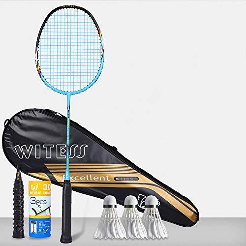 Rebily Speed Racket Einzel Zwei Loaded Trainingsschläger Competition Einzelschläger Carbon-Faser-5U Männliche und weibliche Erwachsene Racket Full Carbon Ultra Light Badmintonschläger