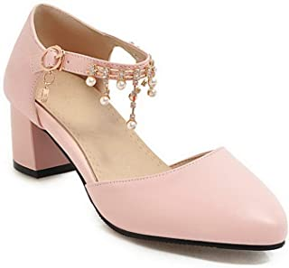 BalaMasa Womens ASL06563 Pu Block Heels