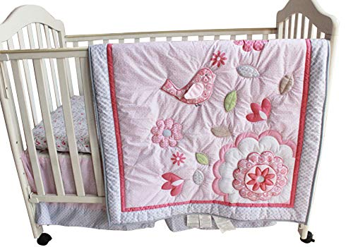 New Baby Girls Happy Bird Pink 8pcs Crib Bedding Set with musical mobile