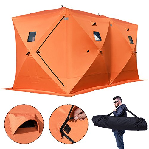 Morffa 2/3/4/8 Person Ice Fishing Shelter Zelt 300d Oxford Gewebe tragbare Ice Shelter Starke wasserdichte Ice Fish Shelter für Freien Angeln (Orange,8 Personnen)