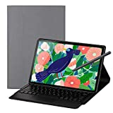 Foluu Galaxy Tab S7 Plus 12.4 2020 Tastatur-Hülle, drahtlose iPad-Tastatur + Folio Smart Case Smart PU Cover Auto Sleep/Wake Magnetic für Samsung Galaxy Tab S7 Plus 12.5 Zoll 2020 SM-T970/T975 (Grau)