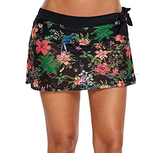 GWELL Damen Blumen Baderock Mesh Figurformend Strandrock Bikinirock Schwimmrock Schwarz 2XL