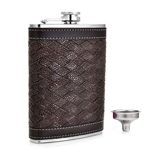 Petaca de Gennissy de acero inoxidable con 8 estilos personalizados para alcohol, frasco de cuero estriado para padrinos, regalo para hombres, (266 ml) Tejido marrón de 9 oz.