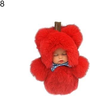 Fashion Toys Kukakoo Plush Cute PillowToys丨Cute Sleeping Baby Doll Key Chain Rabbit Fur Keychain Keyring Bag Car Pendant - Red ,Kindergarten Gift, Gift for Kids/Couples/Friends