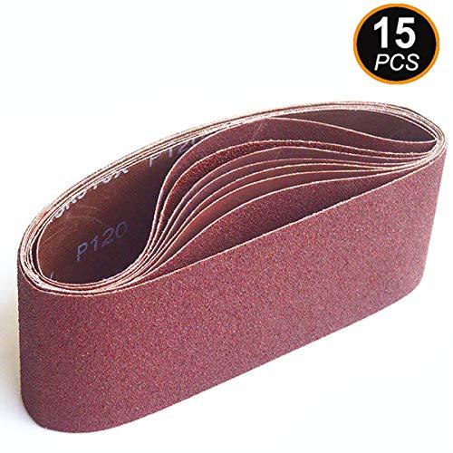 Aiyard 3 x 21-Inch Aluminum Oxide Sanding Belts, 40/80/120/240/400 Assorted Grits Abrasive Belts for Belt Sander, 15-Pack