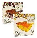 Biscuiterie de Provence Pastel orgánico de almendras y naranja + Pastel de almendras y chocolate Todo sin gluten y conservante - 2 x 465 gramos
