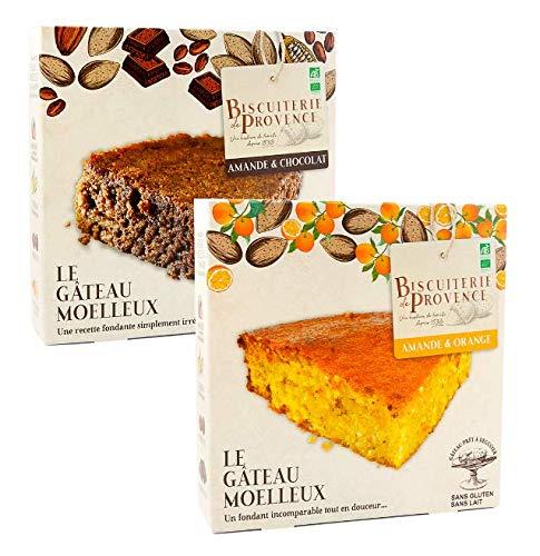 Biscuiterie de Provence Torta di mandorle e Arance Biologica + Torta di Mandorle e Cioccolato Tutte Senza Glutine e Senza Conservanti - 2 x 465 Grammi