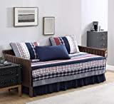 Milton 5-Piece Plaid Checkered Patchwork Striped Quilted 100% Washed Cotton Reversible Quilt Set, Daybed Size
