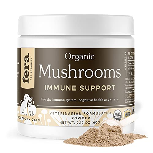 FERA PET ORGANICS Mushroom Blend for Dog and Cat Immune Support - USDA...