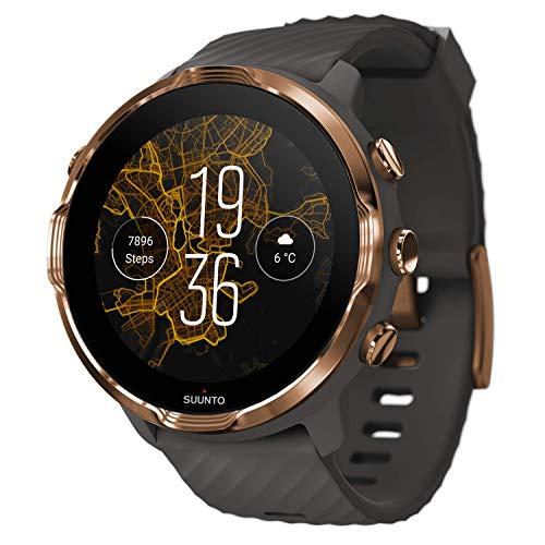 Suunto 7, SS050382000 Smartwatch per Uso Sportivo e Quotidiano, Unisex, Acciaio/Poliamide, Cinturino in Silicone, Schermo Touch, Vetro Gorilla Glass, Grafite/Rame