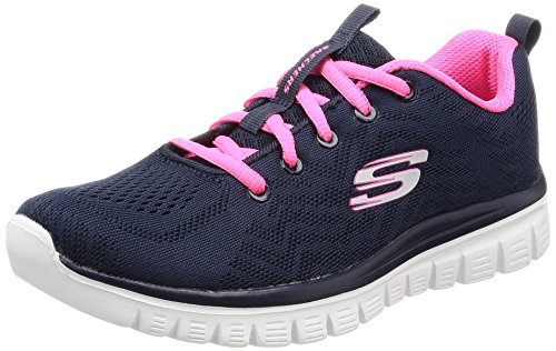 Skechers Women 12615 Low-Top Trainers, Blue (Navy Mesh/Hot Pink Trim Nvhp), 8 UK (41 EU)