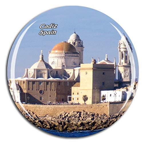 Weekino España Catedral de Cádiz Andalucía Imán de Nevera 3D de Cristal de la Ciudad de Viaje Recuerdo Colección de Regalo Fuerte Etiqueta Engomada refrigerador