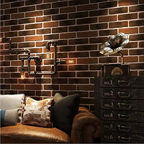 Braune Tapete 3D geprägte Retro Backsteinmauer Stein Tapeten Cafe Restaurant Wohnzimmer TV Sofa Hintergrund Home Decor Q.